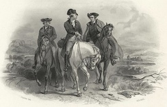 19th century engraving of Washington (center), Henry (right) and Pendleton riding to Philadelphia for the First Continental Congress