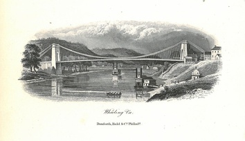 A lithograph of the Wheeling Suspension Bridge