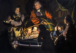 A Philosopher Lecturing on the Orrery (c. 1766). Informal philosophical societies spread scientific advances