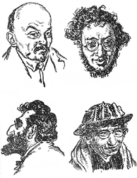 Caricatures of Bolshevik leaders Vladimir Lenin, Karl Radek, Julius Martov, and anarcho-communist philosopher Emma Goldman from Alfred Rosenberg's The Jewish Bolshevism, which asserts that Bolshevism is a Jewish ideology[citation needed]