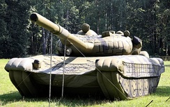 Inflatable mock-up of a T-72 tank