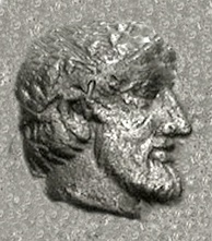 Portrait of a ruler with olive wreath on the Magnesian coinage of Archeptolis, son of Themistocles, c. 459 BC. The portraits on the coinage of Archeptolis could also represent Themistocles.[119]