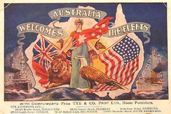 A 1908 postcard welcoming the fleet to Australia