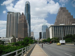 Downtown Austin from Congress Avenue Bridge, with Texas State Capitol in background, 2012