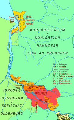 Territory of the Free City of Bremen since 1800