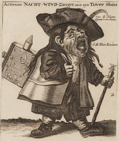 "The ""night singer of shares"" sold stock on the streets during the South Sea Bubble. Amsterdam, 1720."