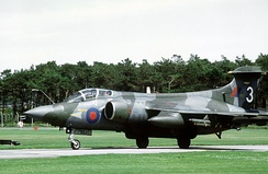 A 208 Sqn. RAF Buccaneer S.2B in 1981. Wrap-around camouflage was applied, as it would often be observed manoeuvered at low levels
