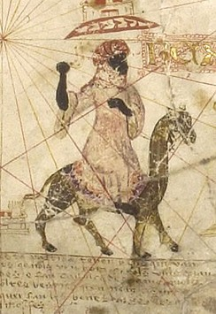 "A 1493 depiction of the 11th century Almoravid general Abu Bakr ibn Umar (""Rex Bubecar"") near the Senegal River. Abu Bakr was known for his conquests in Africa."