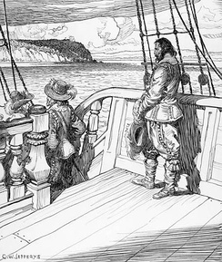 Champlain leaves Quebec as a prisoner aboard Kirke's ship, after a bloodless siege in 1629. Image by Charles William Jefferys, 1942