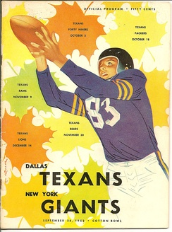 Program from first ever game played by Dallas Texans in 1952