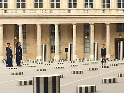 Dancers of the Nathalie Pernette company perform her dance piece La Figure du Baiser in May 2017 within the Columns of Buren at the Palais-Royal.[25]