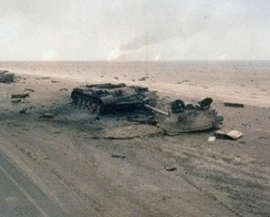 Iraqi tanks destroyed by Task Force 1-41 Infantry during the 1st Gulf War, February 1991