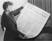 Roosevelt with the Spanish version of the Universal Declaration of Human Rights, which includes Franklin Roosevelt's Four Freedoms.
