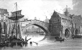 An engraving of the fourth Ouse Bridge (1565–1810)