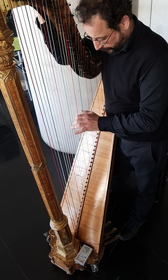 Tuning of Sébastien Érard harp using Korg OT-120 Wide 8 Octave Orchestral Digital Tuner