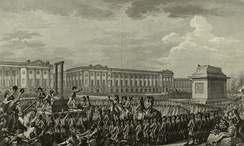 """Day of 21 January 1793 the death of Louis Capet on the Place de la Révolution (engraving by Helman, Duclos, Monnet)"