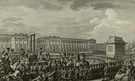 Execution of Louis XVI in the Place de la Révolution. The empty pedestal in front of him had supported an equestrian statue of his grandfather, Louis XV. When the monarchy was abolished on 21 September 1792, the statue was torn down and sent to be melted.