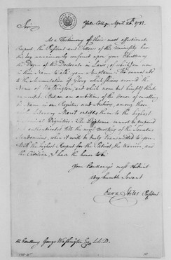 Letter from Ezra Stiles to George Washington announcing the awarding of an honorary degree to Washington by the president and fellows of Yale College (1781).