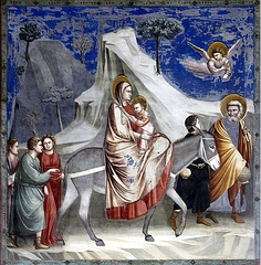Flight into Egypt by Giotto c. 1304