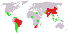 BASIC countries (red) and other G20 developing nations (green)
