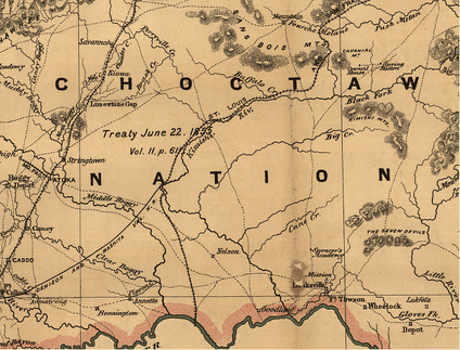 This 1887 map shows the newly opened Frisco Railroad. Its construction stimulated development of a massive logging industry, attracting workers and other immigrants from the United States to the Choctaw Nation--and communities along its length.