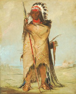 Hó-ra-tó-a, a Crow warrior with headdress, bison robe, and hair reaching the ground. Painted by George Catlin, Fort Union 1832.