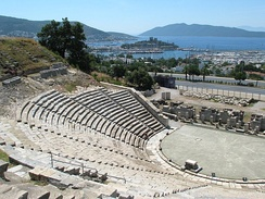 The theatre of Halicarnassus (modern Bodrum) was built in the 4th century BC by Mausolus of Caria. The Mausoleum at Halicarnassus (Tomb of Mausolus) was one of the Seven Wonders of the Ancient World.[55]