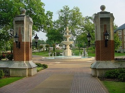 Harrison Plaza at the University of North Alabama in Florence. The school was chartered as LaGrange College by the Alabama Legislature in 1830.