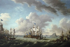 Relief of Gibraltar by Earl Howe, 11 October 1782, by Richard Paton