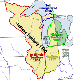 The Indiana Territory shown between 1800 and 1819.