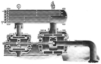 The intercooler (top) of this 1910 Ingersoll Rand air compressor extracts waste heat between the two compressor stages.