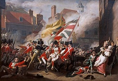 Black Loyalist soldiers fought alongside British regulars in the 1781 Battle of Jersey, from The Death of Major Peirson.