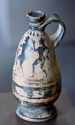 Komos scene on a lekythos, c. 550 BC, found in Boeotia, now in the Louvre, Paris
