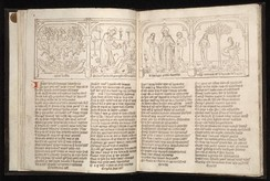 The Speculum humane salvationis contains illustrations of related scenes from the Old and New Testament