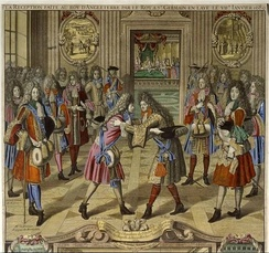 Engraving showing Louis XIV greeting the exiled James II in 1689