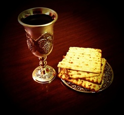 "Communion elements: matzo is sometimes used for bread, emphasising the ""re-creation"" of the Last Supper."