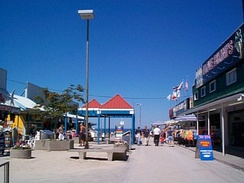 Main Street Mall as it appeared in August 2000. Fire destroyed most of the buildings in November 2007.