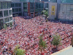 England fans in Manchester during a 2006 FIFA World Cup game shown on the BBC Big Screen