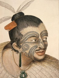 A Māori chief with tattoos (moko) seen by Cook and his crew (c. 1769)
