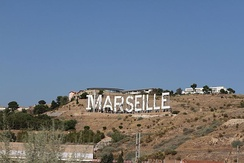 "Hollywood-style ""Marseille"" sign"
