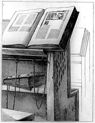 Desk with chained books in the Malatestiana Library of Cesena, Italy.