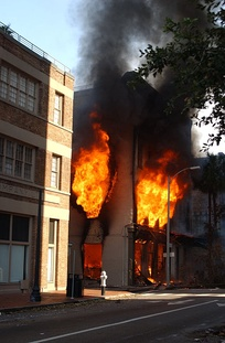 A fire in New Orleans after Hurricane Katrina