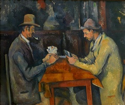 The Card Players, an 1895 painting by Paul Cézanne depicting a card game, in Courtauld Institute of Art (London)