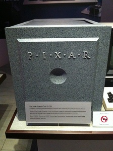 A Pixar computer at the Computer History Museum in Mountain View with the 1986–95 logo on it