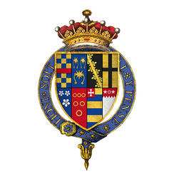 Quartered arms of Sir George Clifford, 3rd Earl of Cumberland, KG