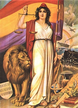 Allegory of the Spanish Republic, displaying republican paraphernalia such as the Phrygian cap and symbols of modernity