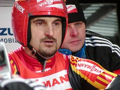 Georg Hackl, seen here during competition at Oberhof, Germany in 2005, won gold in the men's singles luge competition.