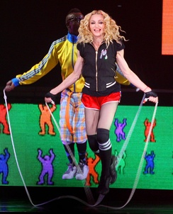 "Madonna jumping rope during the performance of ""Into the Groove""."