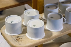 "Tea cups from the Litron service, produced by a ""white oven"" bearing the mark of the manufactory."