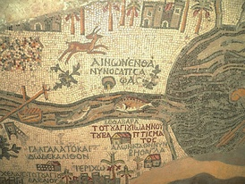 Part of the Madaba Map showing Bethabara (Βέθαβαρά), calling it the place where John baptized.